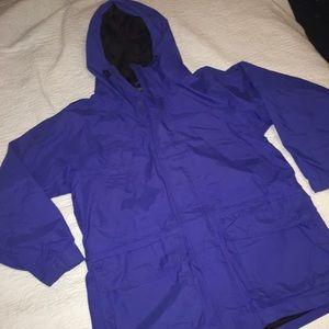 Land's End hooded Raincoat blue